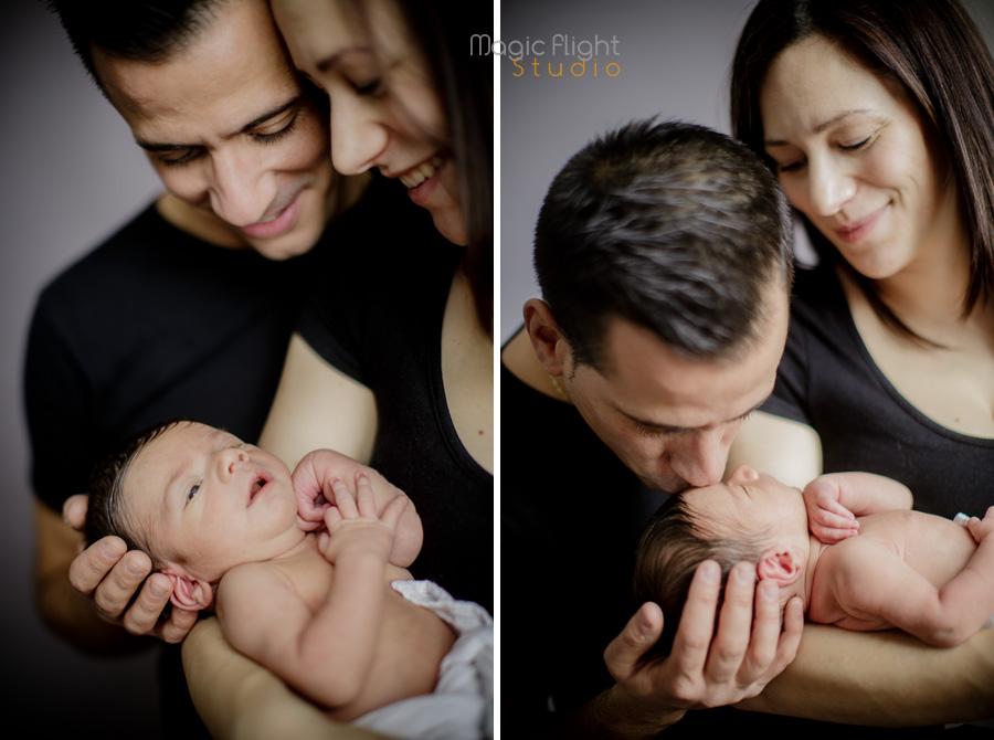 photo avant et après la naissance en studio, 1+1=3