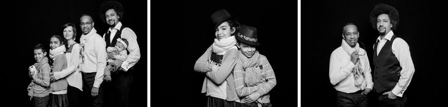 portrait de famille en studio à paris, version noir et blanc