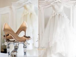 les chaussures et la robe de la mariée au chateau de la Cazine