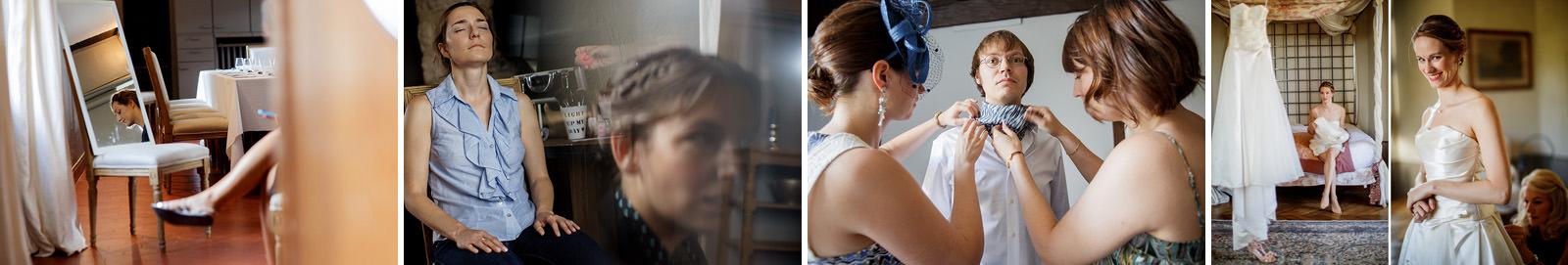 le maquillage dans la chambre pour la mariée