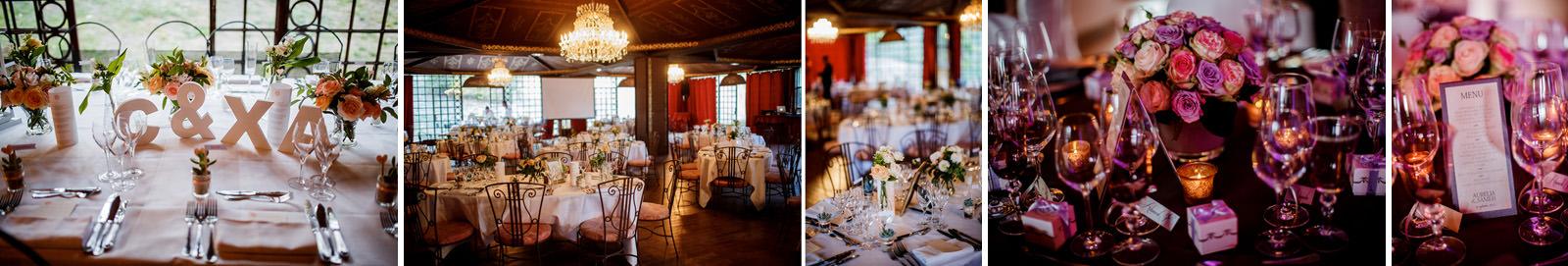 photos de détail des décoration de tables avec les lumières