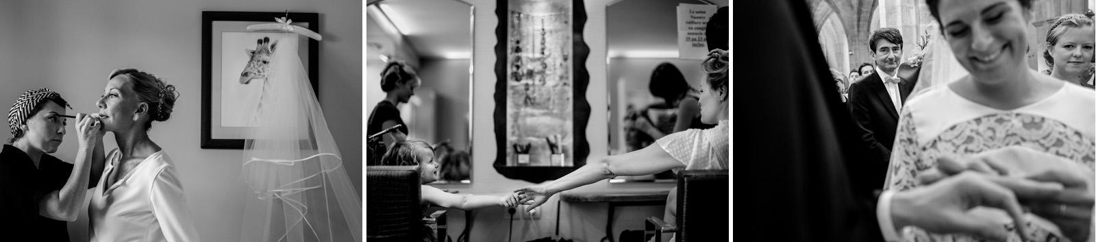 photos en noir et blanc de la préparation de la mariée