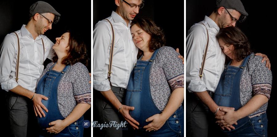 une séance de grossesse en studio