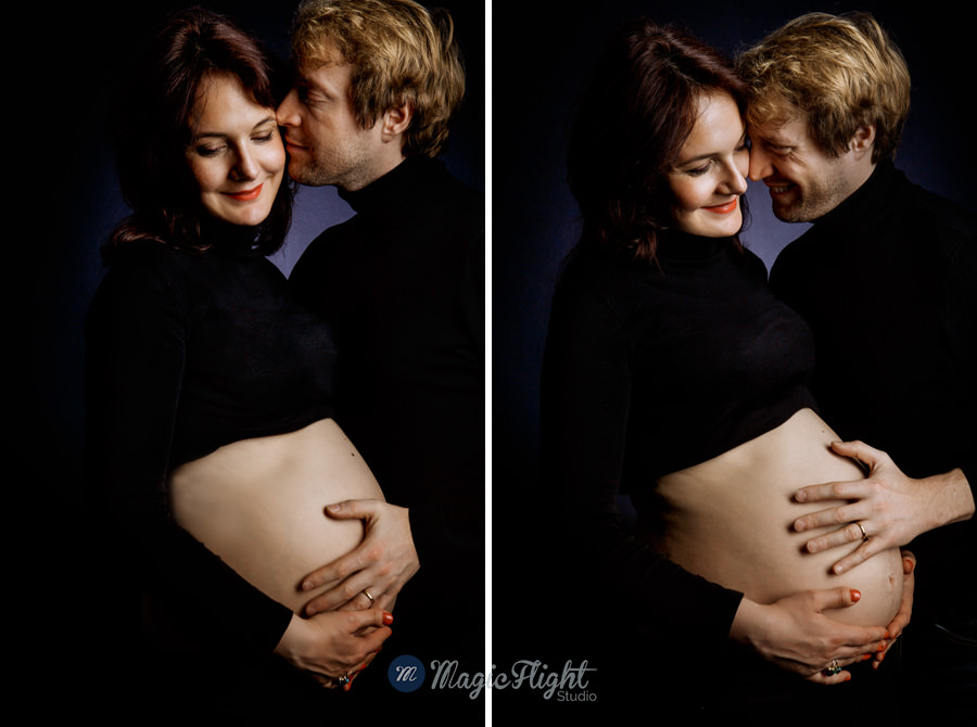 portrait de grossesse en studio sur fond noir