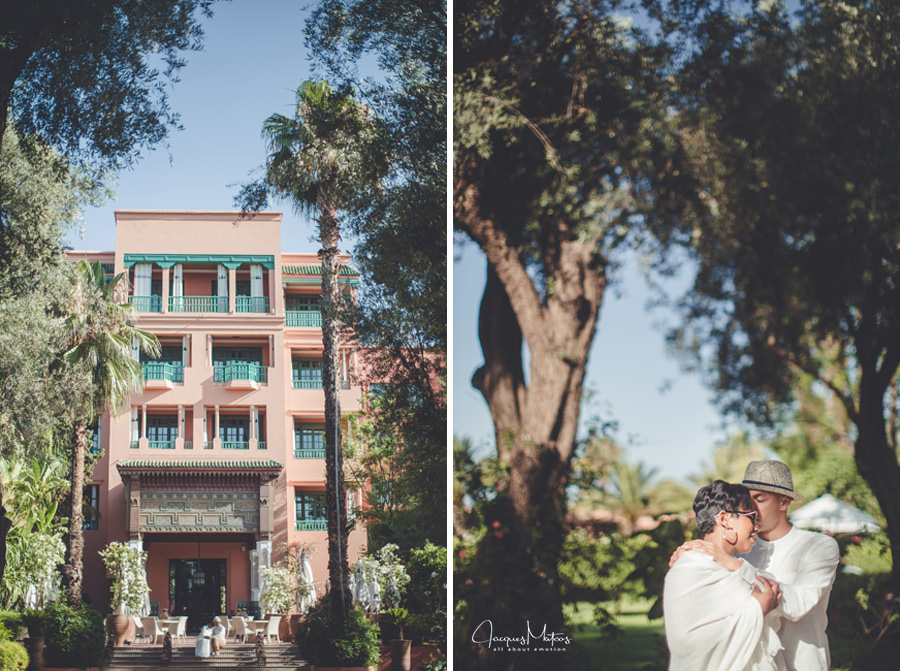 Photos de couple à Marrakech, jardins de La Mamounia 2