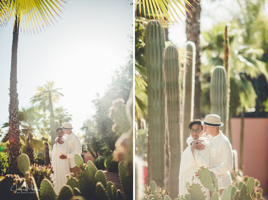 Photos de couple à Marrakech, jardins de La Mamounia 3