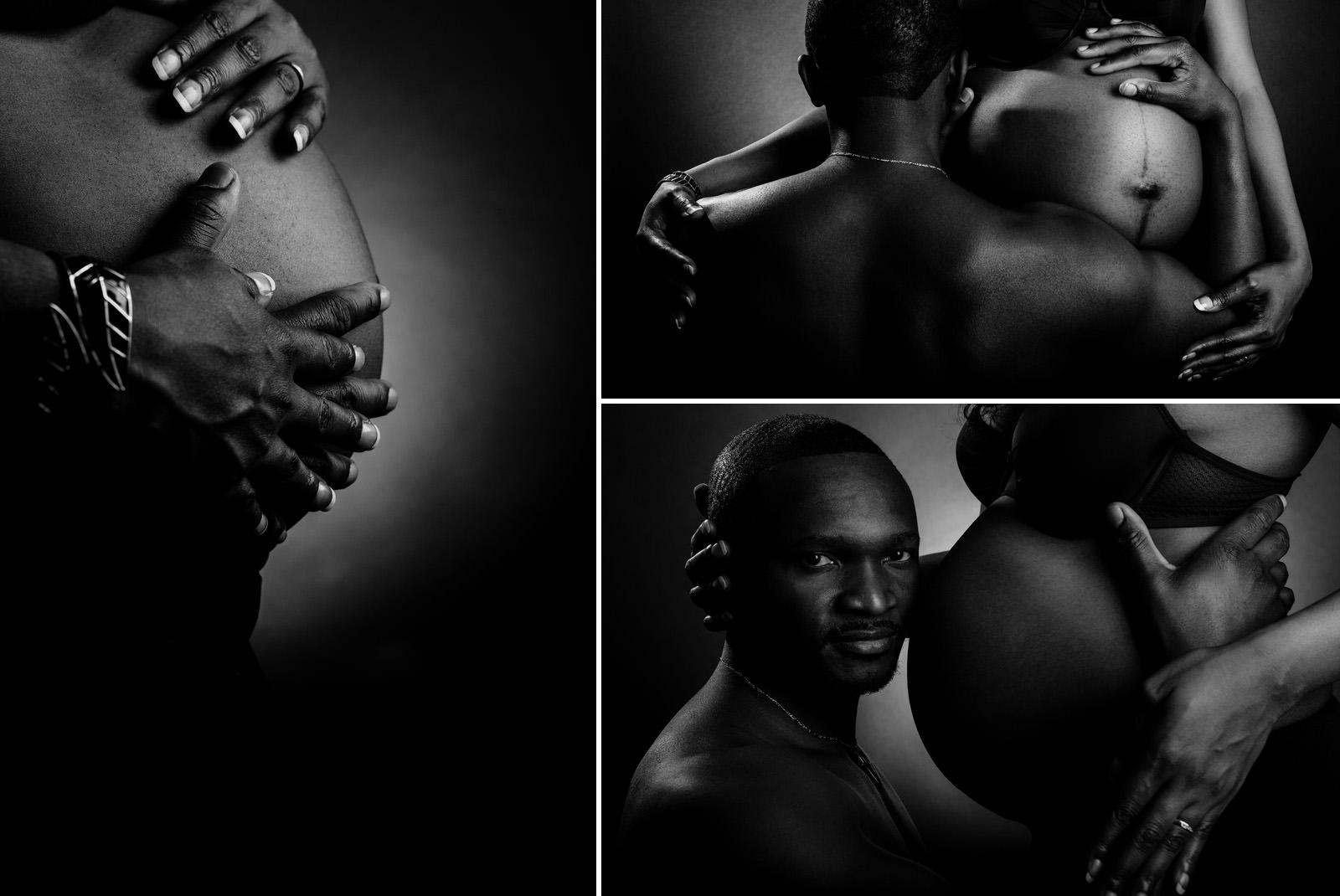 photos de grossesse à domicile ou en studio sur fond noir