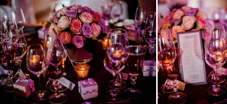 fleurs et mise en place sur les tables de mariage