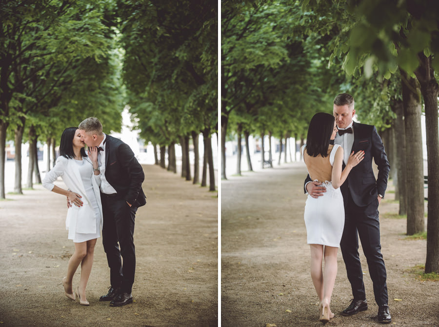 pose couple sous les arbres au palais royal