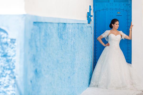 portrait de la mariée dans la Medina