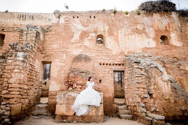 photos de la mariée avec une cigogne à Rabat